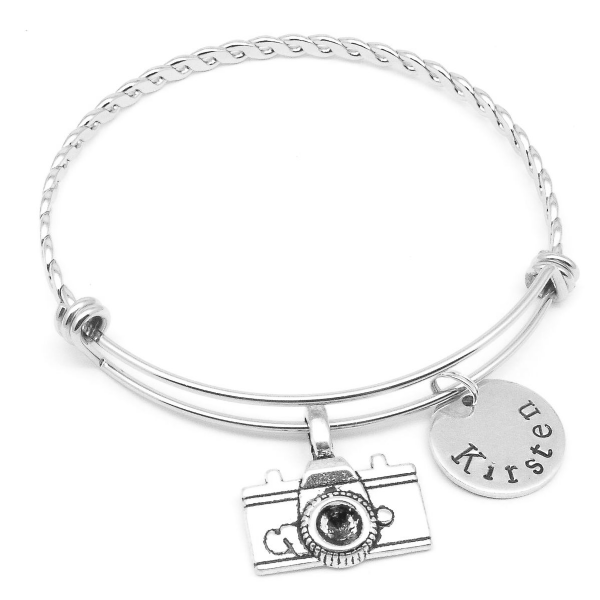 Camera  bracelet gift personalised name jewellery